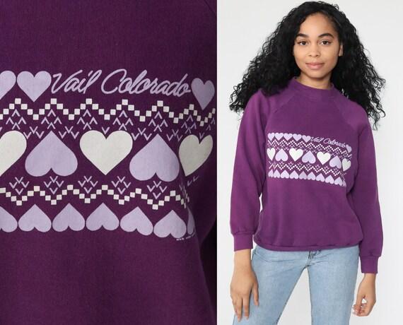 Vail Mountain Sweatshirt Heart Colorado Shirt 90s Graphic Ski Sweater Mountain Crewneck Purple 80s Vintage Retro Medium
