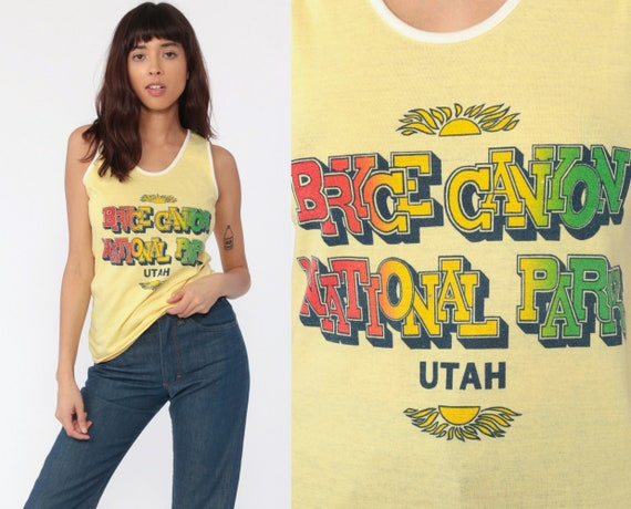 Bryce Canyon Shirt Utah National Park Tank Top 80s Graphic Ringer Tee Yellow Paper Thin Burnout 1980s Screenprint Retro Small