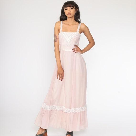 Gunne Sax Dress 70s Maxi PRAIRIE Baby Pink Butter… - image 3