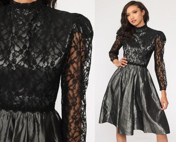 80s Party Dress Taffeta Lace Dress Midi Puff Sleeve Metallic Silver Grey 1980s Formal Prom Victorian Vintage Long sleeve Extra Small xs