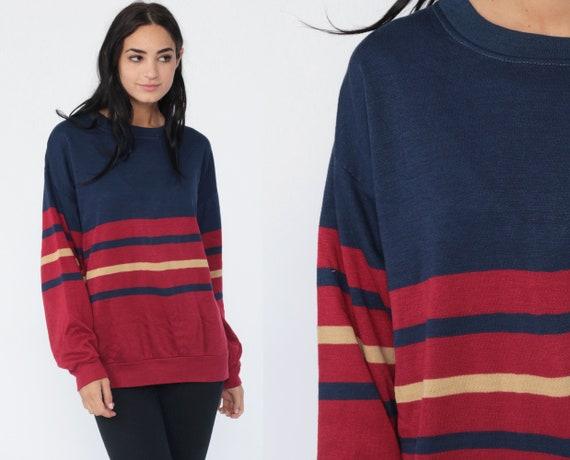 Red Striped Sweatshirt -- 80s Sweater Retro Sweatshirt Navy Blue Slouchy Pullover Vintage 1980s Medium Large