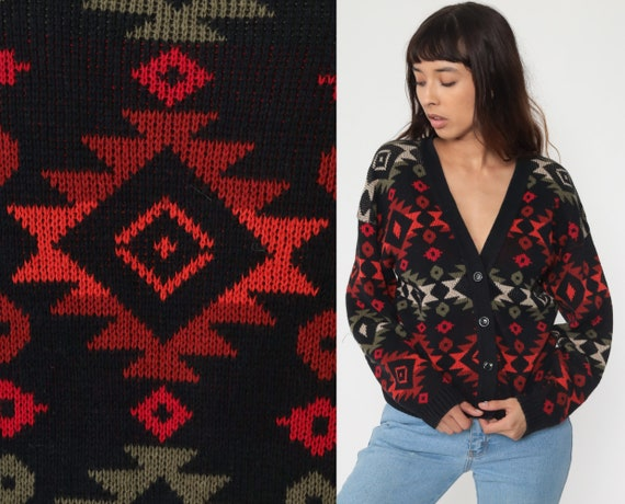 Southwestern Sweater Aztec Cardigan Boho 80s Knit Sweater Red 1980s Vintage Southwest Hippie Bohemian Button Up Slouch Small