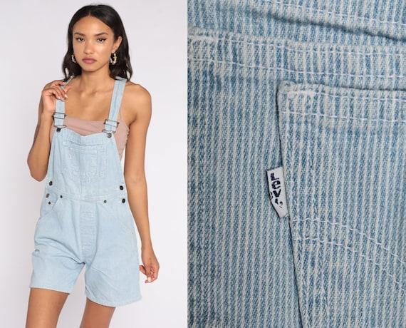 Vintage Levis Striped Overalls Denim Overall Shorts 80s Jean Shorts Levi Bib Shortalls Cargo Suspender Blue Woman 1980s Small S