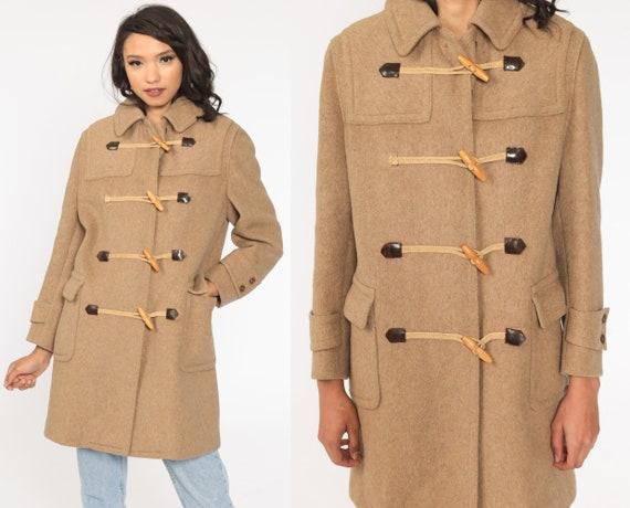 Wool Duffle Coat 70s Jacket Tan Boho Duffel Jacket Toggle Coat Winter Jacket Vintage 1970s Bohemian Small