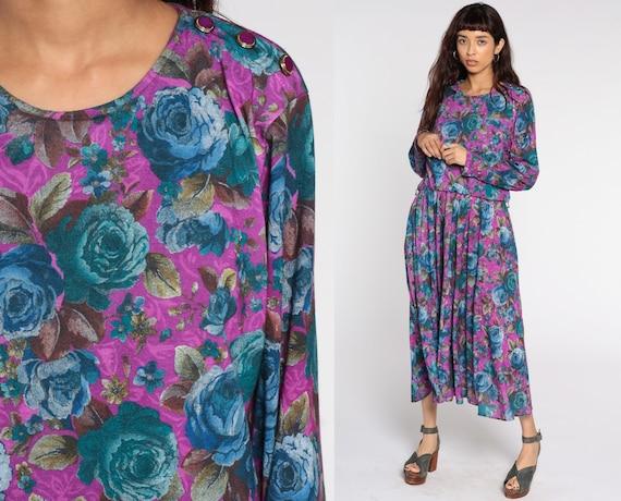 80s Floral Dress Midi Purple Blue Rose Dress High Waisted Slouchy Blouson Secretary 1980s Vintage Long Sleeve Bohemian Large xl l