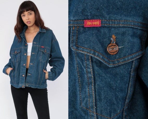 BIG SMITH Jean Jacket 80s Denim Jacket Trucker Blue Stone Wash 1980s Vintage Biker 90s Grunge Hipster Coat 1990s Denim Medium