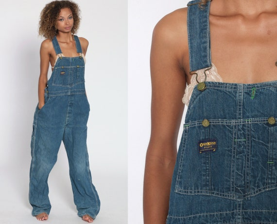 90s OSH KOSH Overalls Backless OshKosh Jeans Bib Overalls 1990s Denim Pants Baggy Long Blue Dungarees Coveralls Streetwear Small Medium