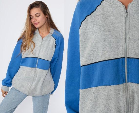 80s Track Jacket Zip Up Sweatshirt Grey Blue Zip Up Striped Jacket Sport Blue Sweatshirt 1980s Vintage Tracksuit Large xl l