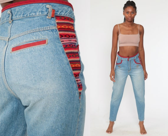 JouJou Patchwork Jeans Mom Jeans 90s Tribal Jeans 1990s Tapered Jeans Red Denim Pants Vintage Small 29