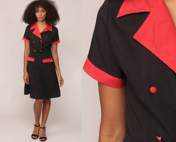 Waitress Uniform Dress 70s Mini Mod Button Up Double Breasted High Waist Vintage 1970s Twiggy Diner Black Red Short Sleeve Small