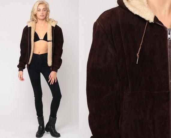 Hooded Leather Jacket Brown Suede Coat 70s Leather Hoodie SHERPA LINED Shearling 1970s Boho Hood Bohemian Vintage Fleece Medium