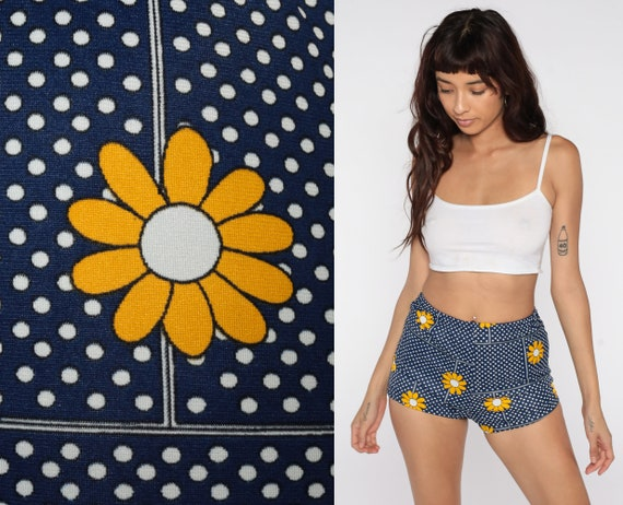 60s Swim Shorts Floral Hot Pants Bikini Bottoms BOYSHORT 70s Mod High Waist Swimsuit Vintage Hotpants Blue Polka Dot Daisy Small S