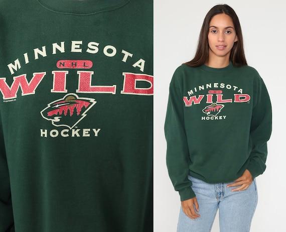 Minnesota Wild Sweatshirt 90s NHL Sweatshirt Hockey Sports Long Sleeve Green Streetwear Sweatshirt Vintage Graphic Medium