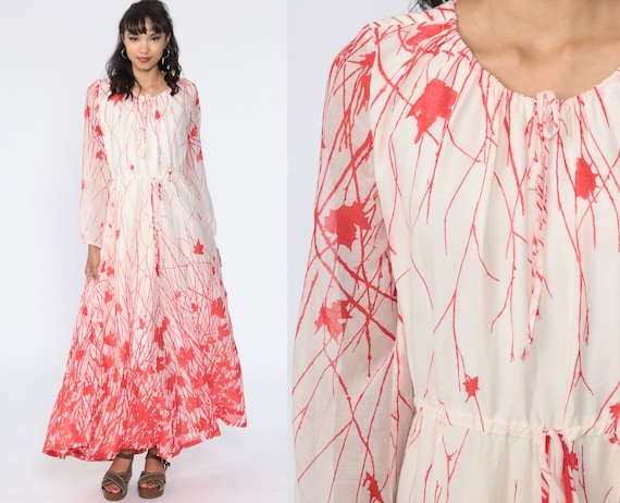 Boho Leaf Dress 70s Maxi Dress Hippie 1970s High Waisted Red Off-White Vintage Bohemian Long sleeve Peasant Small Medium
