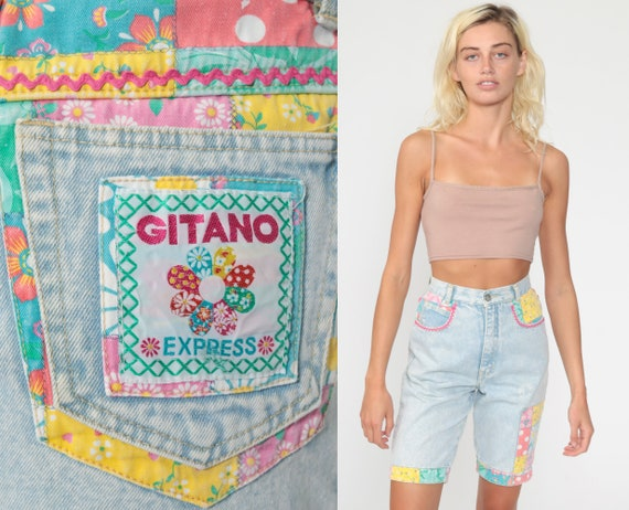 90s Denim Shorts PATCHWORK Jean Shorts Gitano Shor