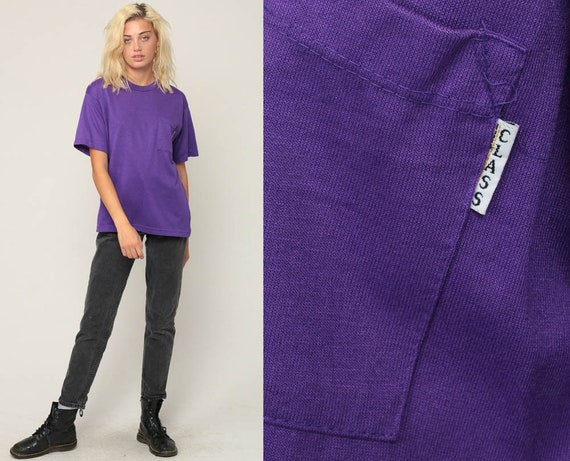 Purple Shirt Plain TShirt 80s T Shirt Purple Tshirt Pocket Shirt Hipster Retro Tee Vintage Normcore Basic Women Small