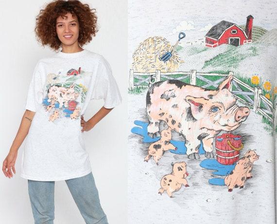 Farm Pig Tshirt Graphic Tee Shirt Vintage 90s Tshirt Kawaii Cute Animal Retro T Shirt 1990s Medium Large