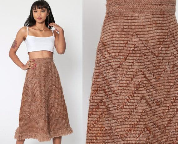 70s Knit Skirt Brown FRINGE Skirt Boho Hippie Midi High Waist Blanket Boho Long Woven 1970s Bohemian Vintage Festival Extra Small xs