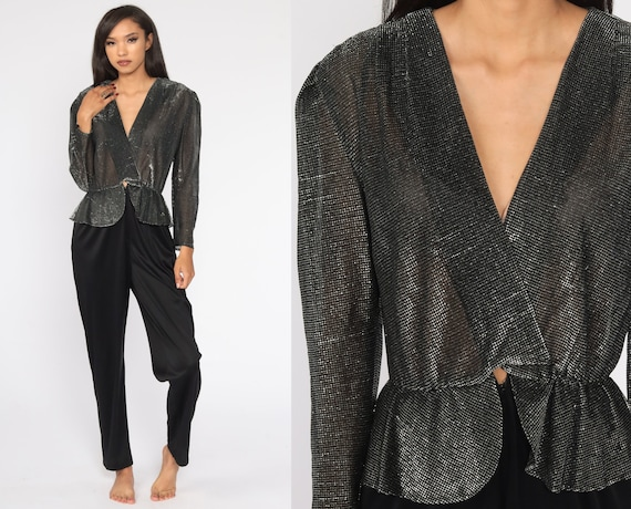 80s Jumpsuit Metallic Black Silver 70s Disco Tapered Pantsuit Party Outfit 1980s Peplum High Waisted Vintage Long Sleeve Small Medium