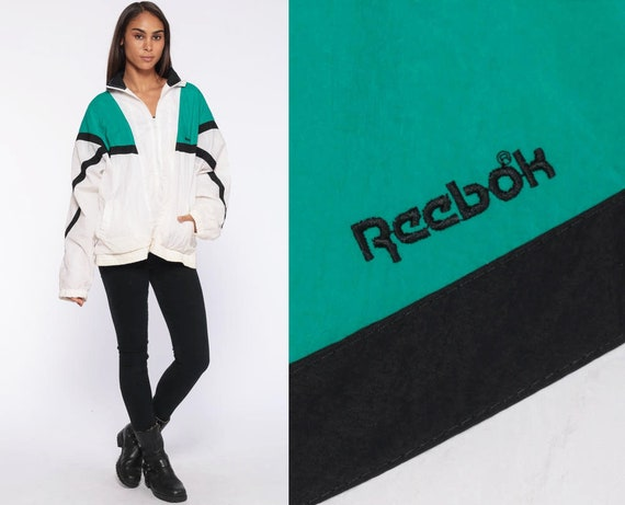 Jahrgang Reebok Windbreaker Jacke grün 90er Jahre