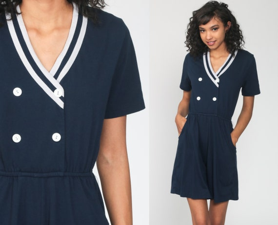Nautical Romper 90s Playsuit Navy Blue Romper Outfit One Piece Woman Sailor Romper 1990s Mini Wide Leg Button Up Short Sleeve Small Medium