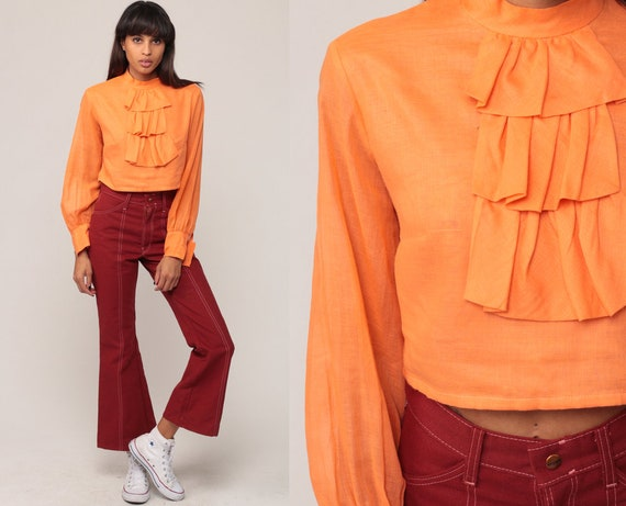 Hippie Shirt Tuxedo Blouse CROP TOP 70s Shirt RUFFLE Shirt Orange Boho Hippie Bohemian Vintage Long Sleeve Small