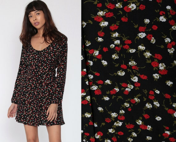Black Floral Dress 90s Mini Babydoll Red Rose Grunge Bohemian Babydoll 1990s Vintage Button Up Boho Long Sleeve High Waist Small Medium