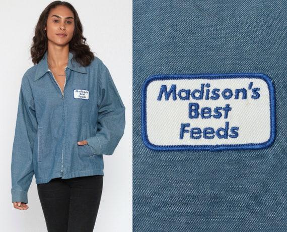 Mechanic Jacket MADISONS BEST FEEDS Work Wear Light Blue Jacket 80s Chambray Uniform Jacket 1980s Workwear Patch Zip Jacket Medium Large