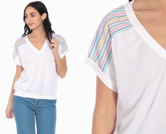 Pastel Rainbow Shirt Striped T Shirt Vintage 80s Tshirt Kawaii V Neck Blouse Thin Retro Tee 1980s Cap Sleeve Medium