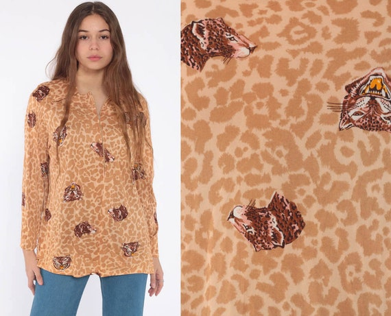 Growling Leopard Shirt 70s Big Cat Safari Shirt Jungle Animal Blouse Tiger Print Zip Up Cheetah Party Shirt Long Sleeve Large