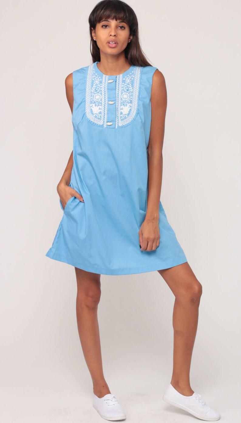 4a41ca6ca215a Mod Mini Dress Bib 70s EMBROIDERED Bib 60s Twiggy Baby Blue | Etsy