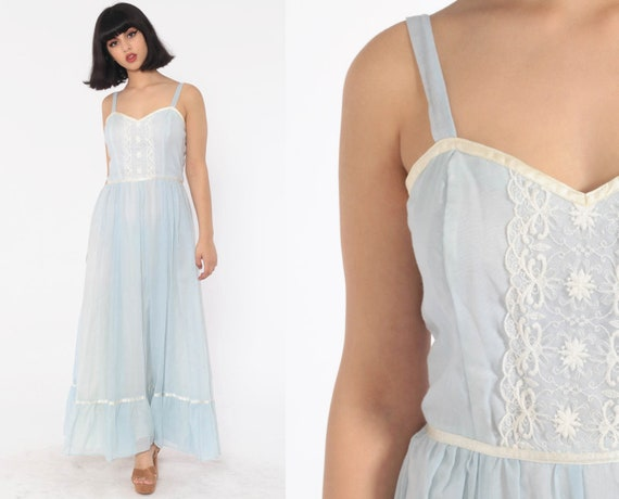 Gunne Sax Dress 70s Maxi Prairie Bohemian Baby Blue Lace 1970s Boho Hippie Sun Tiered Sundress Bridal Wedding  Vintage Pastel Extra Small xs