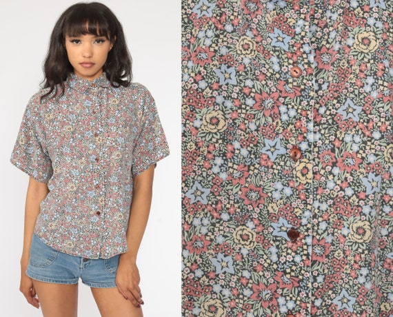 Star Floral Blouse 80s Button Up Shirt Short Sleeve Top Short Sleeve Romantic Boho 1980s Vintage Bohemian Large