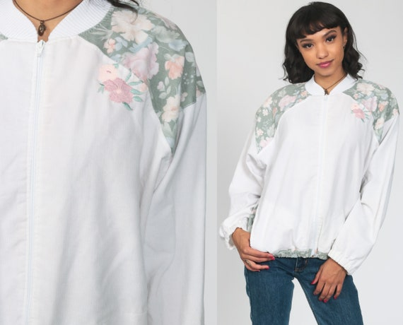 Floral Bomber Jacket 90s Windbreaker Jacket 80s Retro Rose Print Boho Grunge White Vintage 1980s Retro Jacket Zip Up Medium