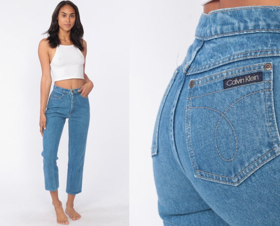 90s Calvin Klein Jeans 25 Ankle Mom Jeans Blue High Waisted Jeans CK 90s Denim Pants Tapered Blue 1990s Vintage Short Crop Extra Small xs