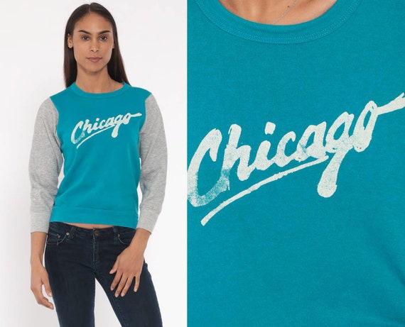 80s CHICAGO Sweatshirt -- 1980s Crewneck Sweatshirt Turquoise Graphic Grey Sweater Shirt Slouchy 1980s Sportswear Pullover Extra Small xs