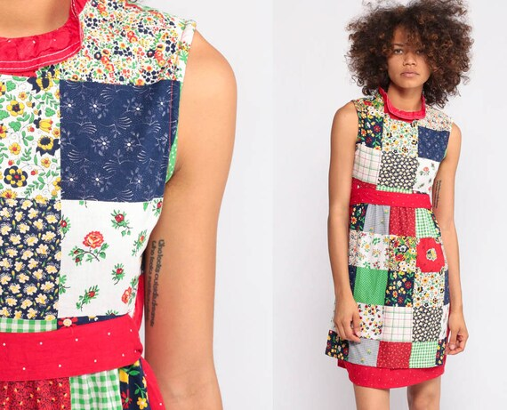 Babydoll Mini Dress Floral PATCHWORK Dress 70s Boho APRON Dress Red Empire Waist Sundress Summer Vintage Sleeveless Bohemian Extra Small xs