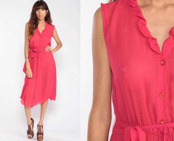 Sheer Pink Dress Midi Bohemian Dress 70s Button Up Dress Ruffle Vintage Boho High Waisted Sleeveless Romantic Secretary Medium