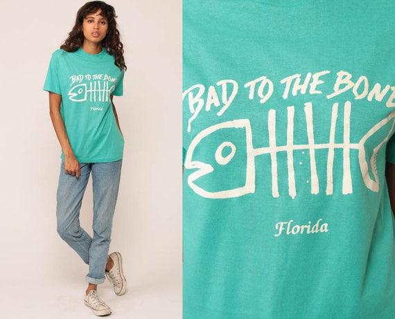 Florida T Shirt BAD To THE BONE Shirt 90s Graphic T Shirt Fish Bones Pun Shirt Retro Travel Top Vintage 80s Turquoise Green Medium