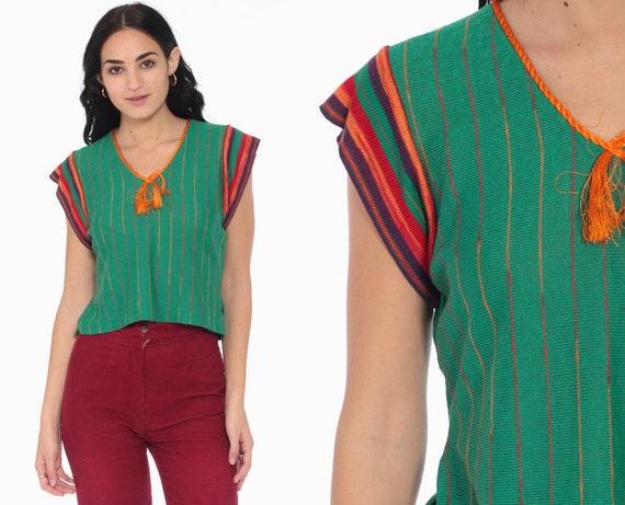 70s Knit Top Green Striped Shirt Rainbow Boho Cap Short Sleeve Sweater Top Bohemian Retro Tee Vintage 1970s Medium Large