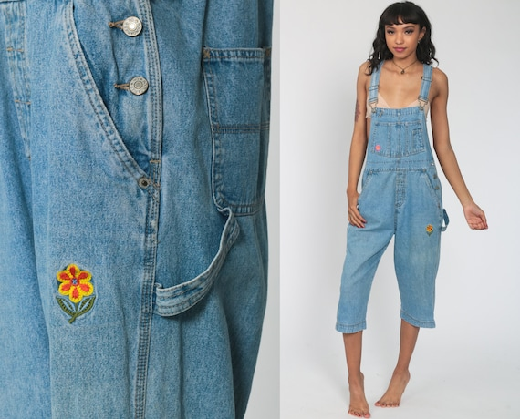 Cropped Denim Overalls Embroidered Women 90s FLORAL Overalls Summer Bib Jean Capri Pants Blue Jean Suspender 1990s Normcore Vintage Small