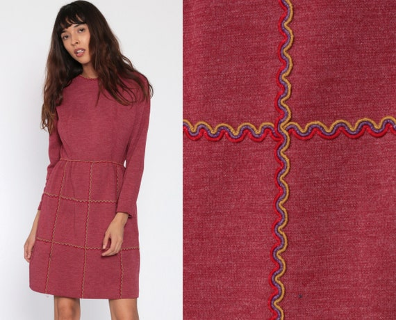 60s Mod Dress Burgundy Mini High Waisted Vintage 70s Maroon Red Long Sleeve 1970s Twiggy Gogo Minidress Extra Small xs