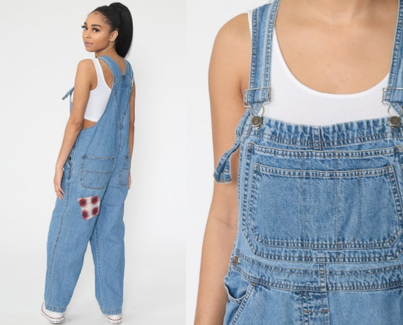 Patch Denim Overalls Pants 90s Patchwork Bib Overalls 1990s Denim Pants Faded Blue Jean Dungarees Coveralls Long Blue Vintage Small Medium