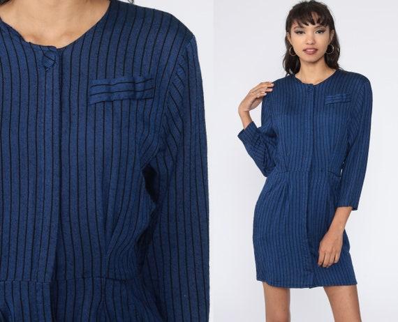 Striped Secretary Dress 80s Button Up Mini Dress Blue Shirtdress High Waist 1980s Vintage 3/4 Sleeve Dress Small S