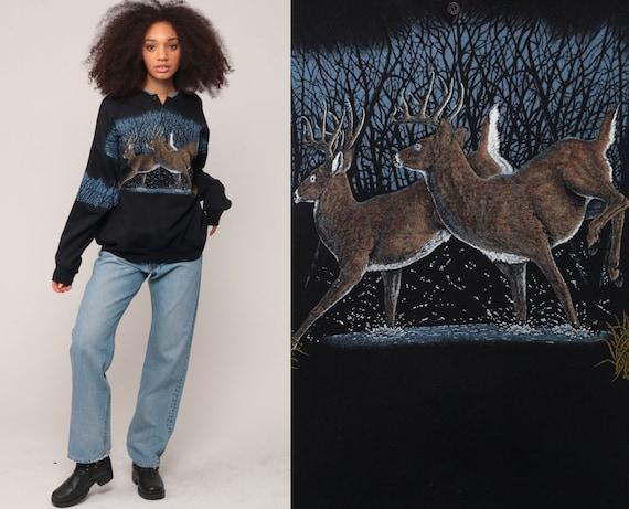 Deer Sweatshirt Animal Sweatshirt 80s Print Jumper Pullover Buck Shirt Wildlife Shirt Hipster Vintage Slouchy Large