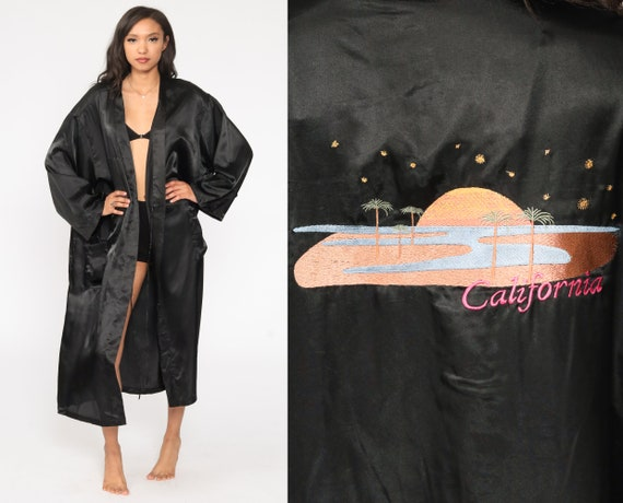 Satin California Robe 80s Dressing Gown Black Wrap Robe Embroidered Maxi Full Length Robe Vintage 1980s Small Medium Large xl