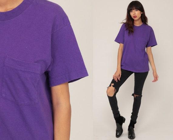 Purple Shirt Plain TShirt 80s T Shirt Pocket Shirt 90s Top Hipster Retro Tee Vintage Normcore Basic Women Medium Large