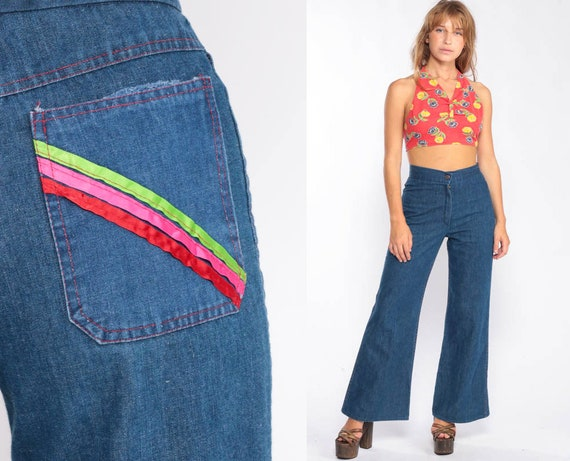 Denim Bell Bottoms Jeans High Waisted Jeans 70s Flared Denim Pants Hippie Boho High Waist 1970s Vintage Blue Jean  Small 4 6 27