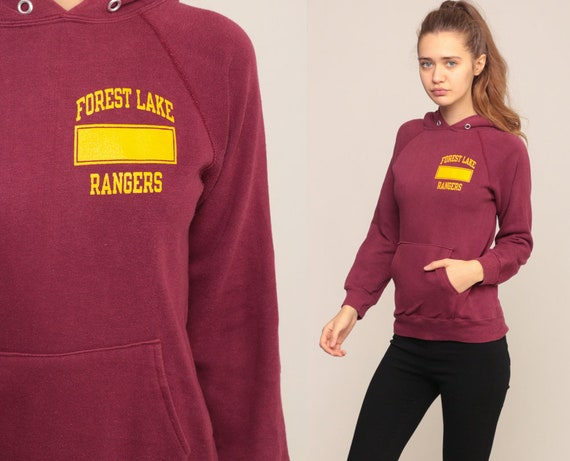 Hoodie Sweatshirt FOREST LAKE RANGERS Shirt 80s Hooded Sweatshirt Graphic Hood Burgundy School 1980s Retro Sports Vintage Extra Small