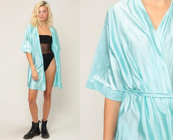 Floral Kimono Robe Jacket 80s Bohemian Lingerie Silky Mini Dressing Gown Wrap Blue Vintage 70s Boho Hippie Small
